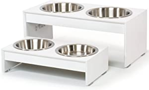 "PetFusion Elevated Dog Bowls, Cat Bowls (4"", 8"" Tall Options). Bamboo w/Water Resistant Seal. US Food Grade Stainless Steel Raised Bowls"