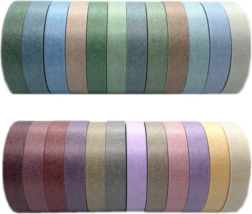 24 Rolls Washi Tape Set Colored Masking Tape Pack Decorative Thin Tapes Children and Gifts Warpping (Nature Color 7.5mm)