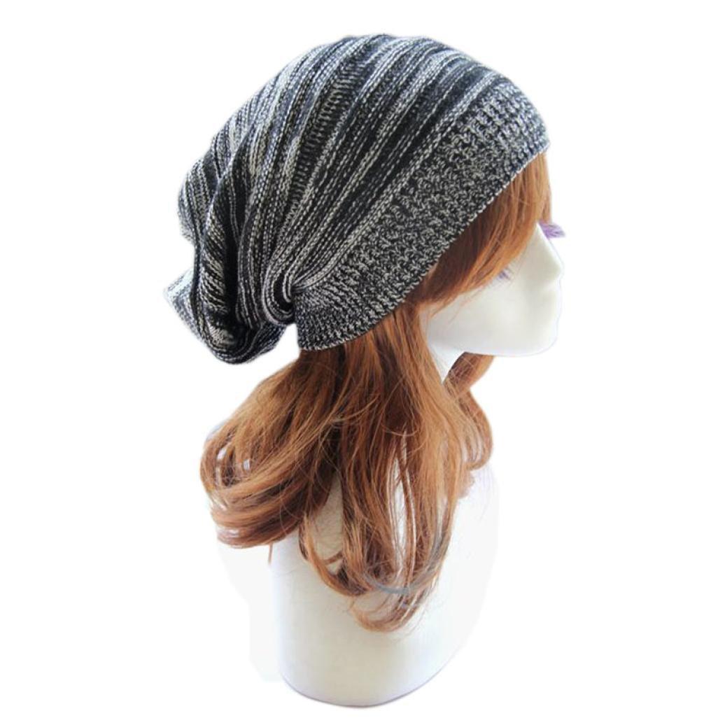 Sandistore Unisex Knit Baggy Beanie Beret Winter Warm Oversized Ski Cap Hat (Black)