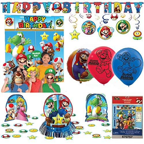 Super Mario Bros Birthday Party Package Decoration Kit]()