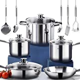 HOMI CHEF 14-Piece Mirror Polished Nickel Free Stainless Steel Cookware Set (No Toxic Non Stick Coating, 1 Frying Pans +1 Saute Pan +2 Sauce Pans +1 Stock Pot +5 Accessories)- Induction Ready Cookware