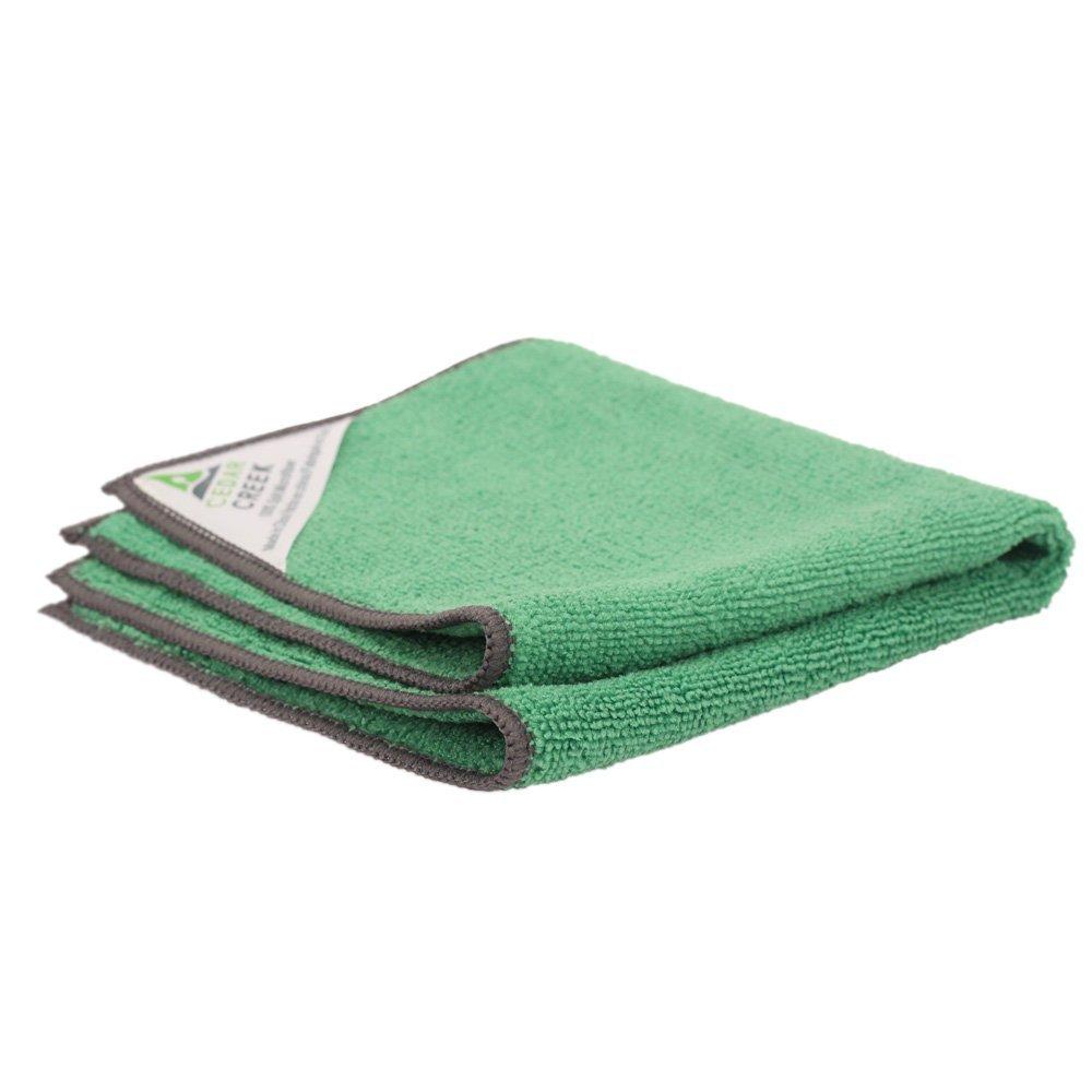 Cedar Creek 12''x16'' Premium Plush Microfiber Cleaning Cloths, Professional Grade, Green, 144 Case Value Pack