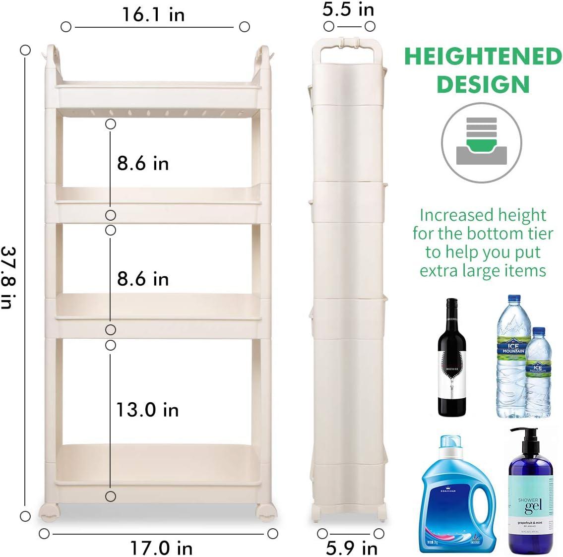 4 Tier Home-Man Gap Storage Narrow Home Organizer Rack Slim Home Garden Storage Rack Kitchen Bathroom Cart Tower Flower Pot Holder with Wheels