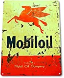 "TIN SIGN ""Mobiloil Company"" Gas Mobil Oil Metal Decor Art Garage Shop Store A130"