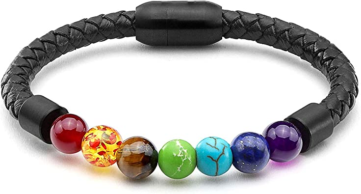 Gemstone Pendant Beads with Real Leather Cord Necklace Healing Brand New