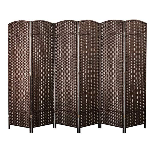 Cocosica Weave Fiber Room Divider, Natural Fiber Folding Privacy Screen with Double Hinge & 6 Panel Room Screen Divider Separator for Decorating Bedding, Dining, Study and Sitting Room ()