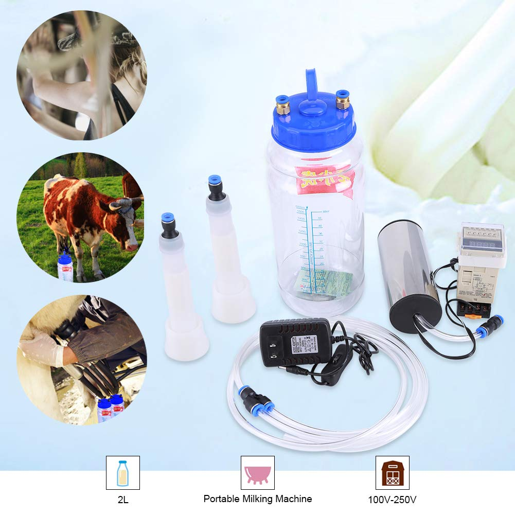 2L Portable Milking Machine,Acogedor Electric Milker Machine with Pulse Controller for Cow Sheep 100V-250V