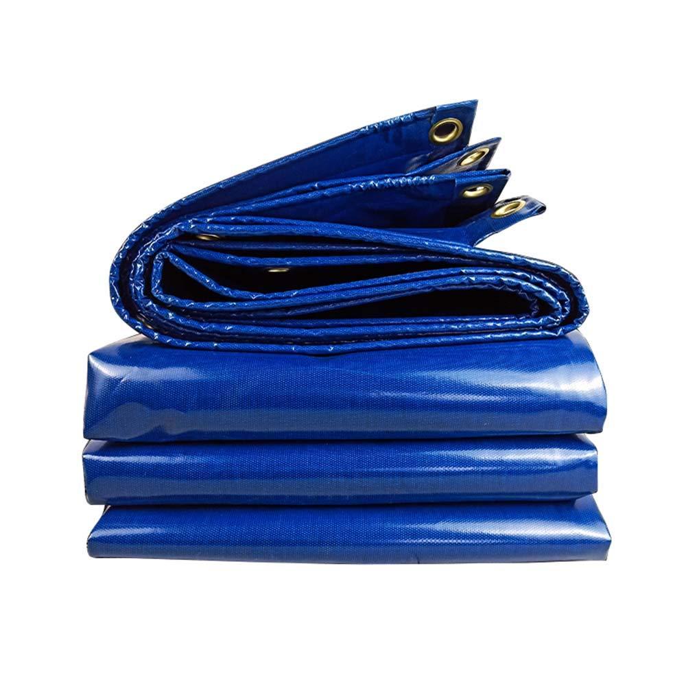 0.35ミリメートル屋外防水穴あき防水シート、青い折りたたみナイフ掻き布、不凍液断熱ターポリン、380 g/m 2、車の日焼け止め日焼け止めと雨の布 5*6m  B07QTQFJ71