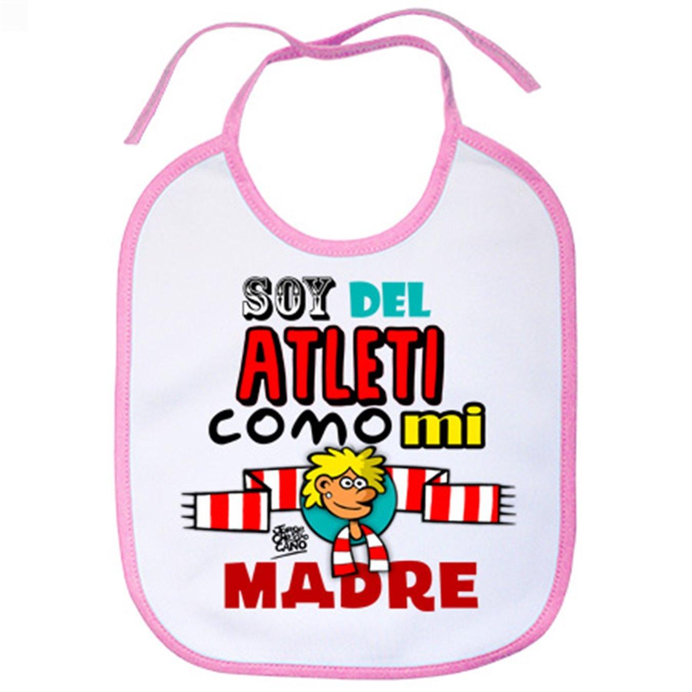 Babero Atlético de Madrid soy del Atleti como mi madre - Celeste: Amazon.es: Bebé