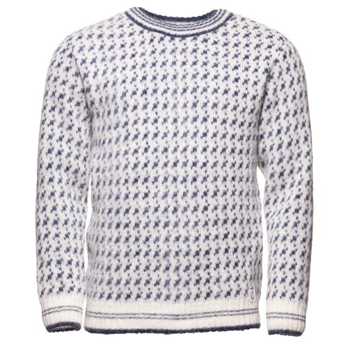 ICEWEAR Faereyingur Men's Sweater Knit Design for winters without Zipper 100% Icelandic Wool Long Sleeve | white - Large