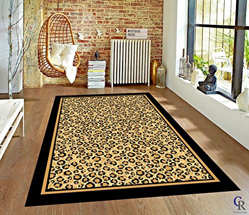 - Champion Rugs Modern Contemporary AFRICAN SAFARI LEOPARD ANIMAL SKIN BORDER NOVELTY AREA RUG (7' 8