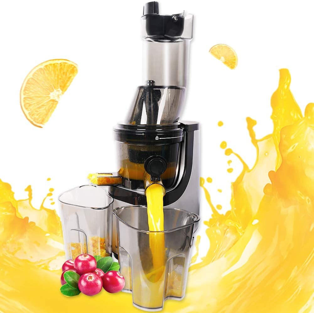 Slow Juicer Masticating Juice Extractor Professional Machine Quiet Motor Reverse Function Cold Press Juicer with Brush Easy to Clean High Nutrient Fruit Vegetable Orange Juice Maker Juicers
