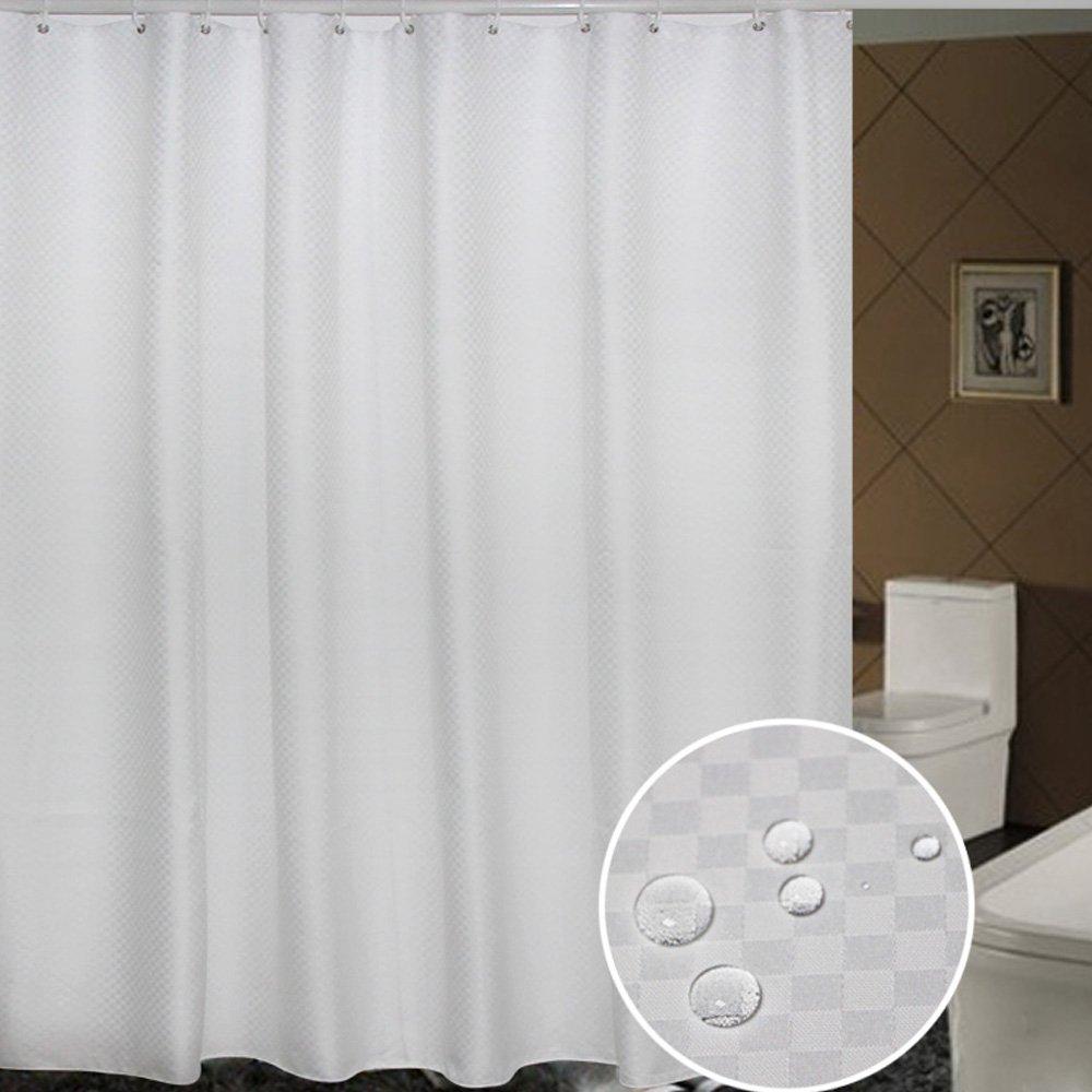 Details About Uphome Bathroom Shower Curtain Plain White Heavy Duty Waffle Weave Fabric Bath