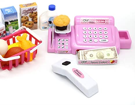 Kids Toy Cash Register - Barcode Scanner with Realistic Sounds, Grocery  Items, Pretend Money & Food Basket