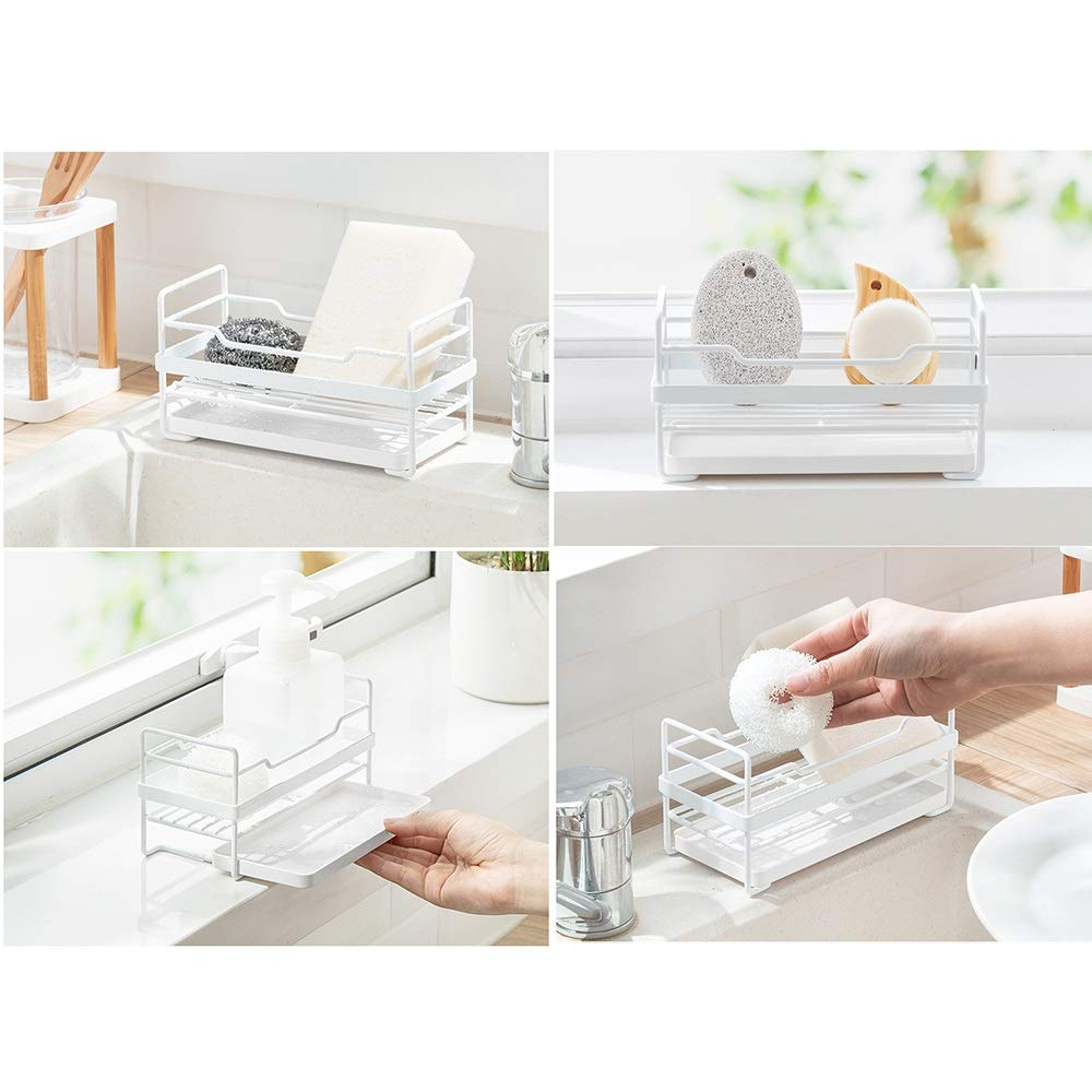 Kitchen Small storage Shelf - Dishwasher Sink Drainer - Washing and Washing Fruit Shelf Sink Tray, Telescopic, Stainless Steel by Guoqing (Image #3)