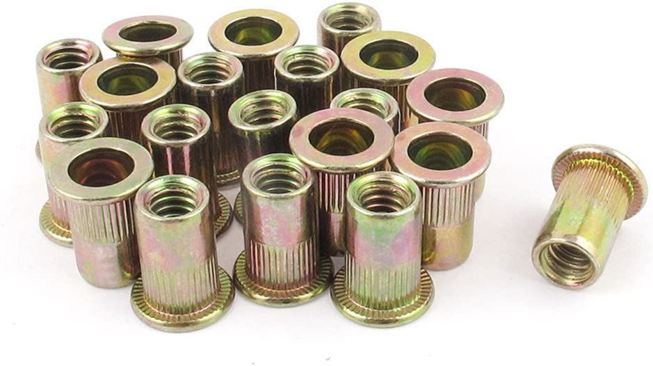 Fullerkreg 24Pcs Zinc Plated Carbon Steel Rivet Nut Rivnut Insert Nutsert 5//16-18UNC