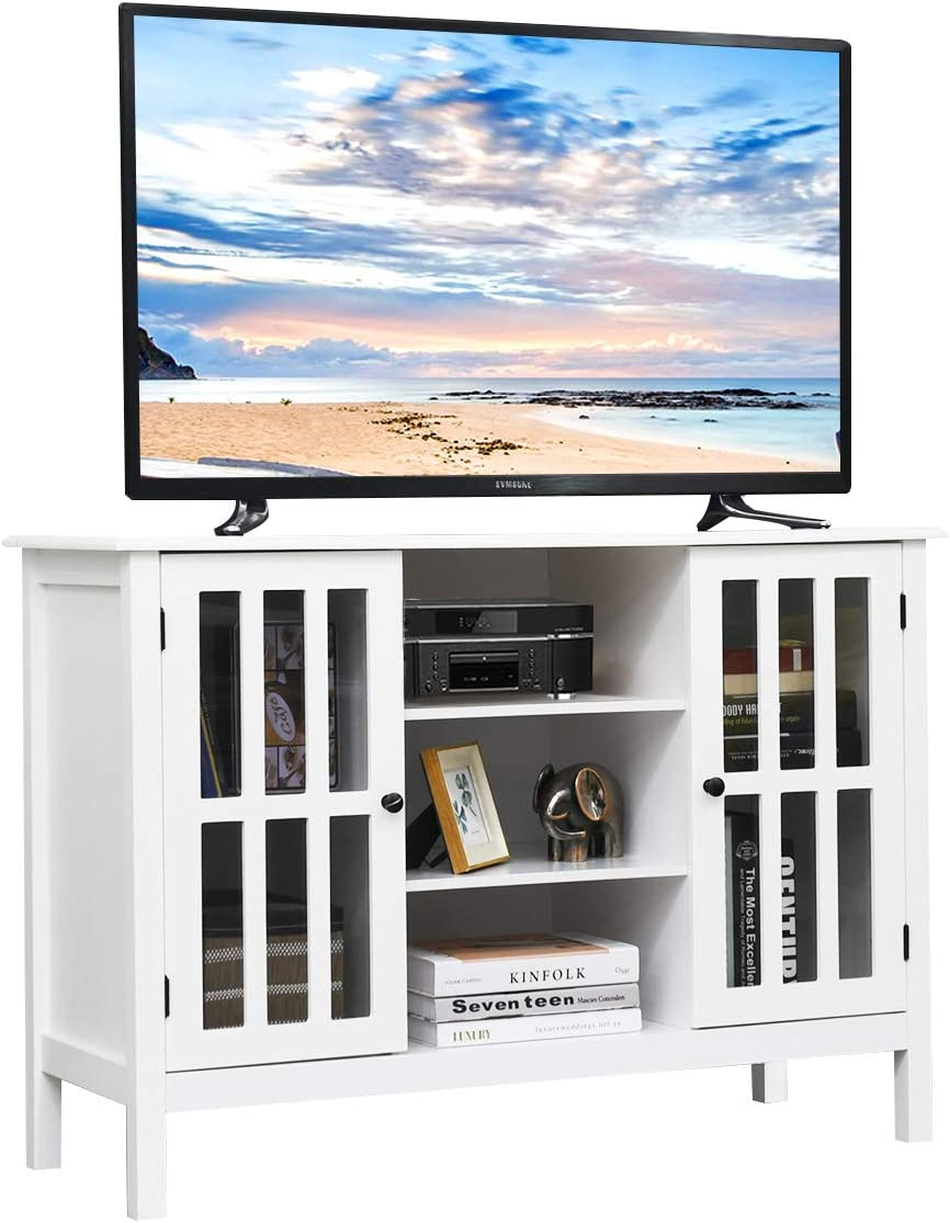 Tangkula Wood TV Stand, Classic Design Storage Console Free Standing Cabinet for TV up to 45 , TV Cabinet Media Center Home Living Room Furniture, TV Stand Media Cabinet White