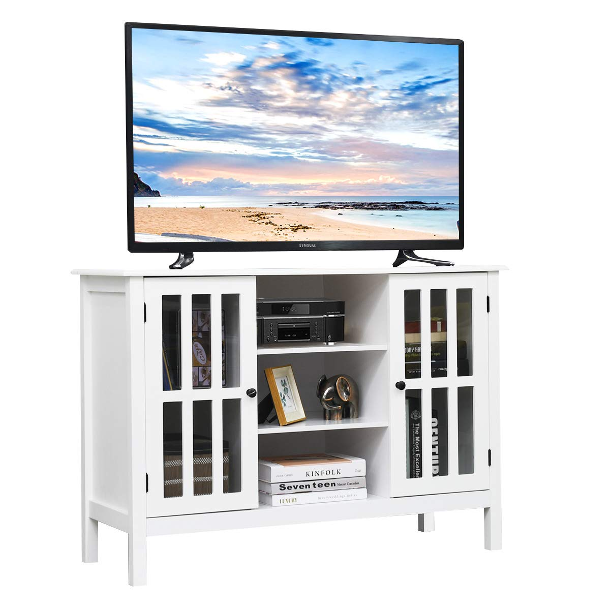 Tangkula TV Stand, Classic Design Wood Storage Console Free Standing Cabinet for TV up to 45 , Media Entertainment Center Home Living Room Furniture, TV Stand Cabinet White
