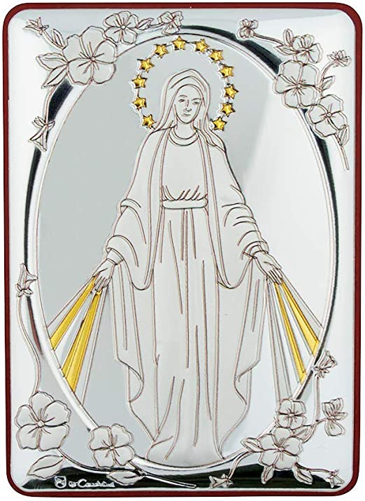 JESUS THE IMMACULATE CONCEPTION VIRGIN MARY OUR LADY WOODEN PLAQUE PICTURE
