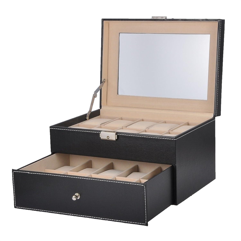HooAMI Hochwertiger Uhrenkoffer Uhrenbox Uhrenkasten SchaukÄsten Lederetui FÜr 20 Uhren Schwarz mit Glasfenster