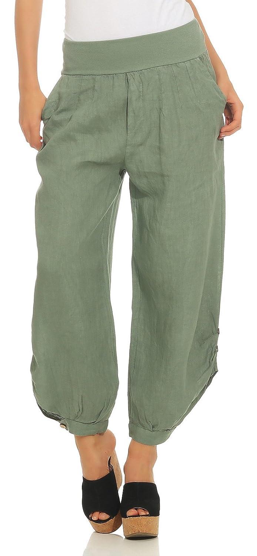Mississhop Damen Leinenhose lockere Freizeithose Lange 100% Leinen Hose Uni  Stoffhose Elegante Haremshose mit Knöpfen einfarbig  Amazon.de  Bekleidung bcbf56770c