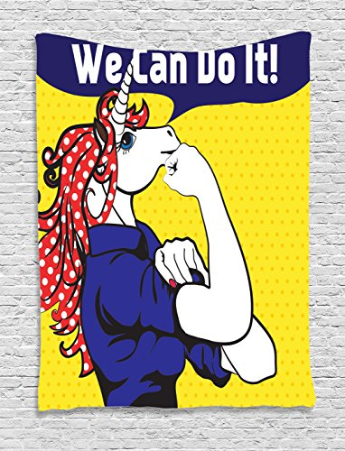 Unicorn Tapestry Wall Hanging by Ambesonne, Feminist Unicorn with Famous Gesture on Polka Dots Setting Strength Humor Image, Bedroom Living Room Dorm Decor, 60 W x 80 L Inches, - Wall Dots Polka Hanging