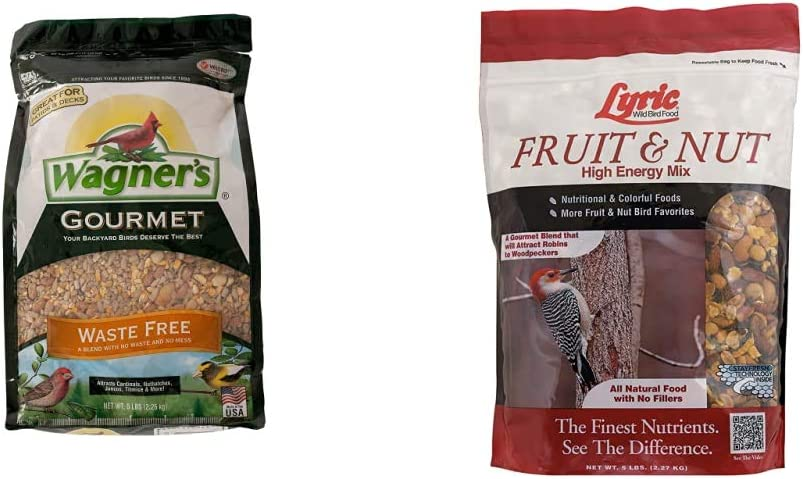 Wagner's 82056 Gourmet Waste Free Wild Bird Food, 5-Pound Bag & Lyric 2647413 Fruit & Nut High Energy Wild Bird Food, 5 lb