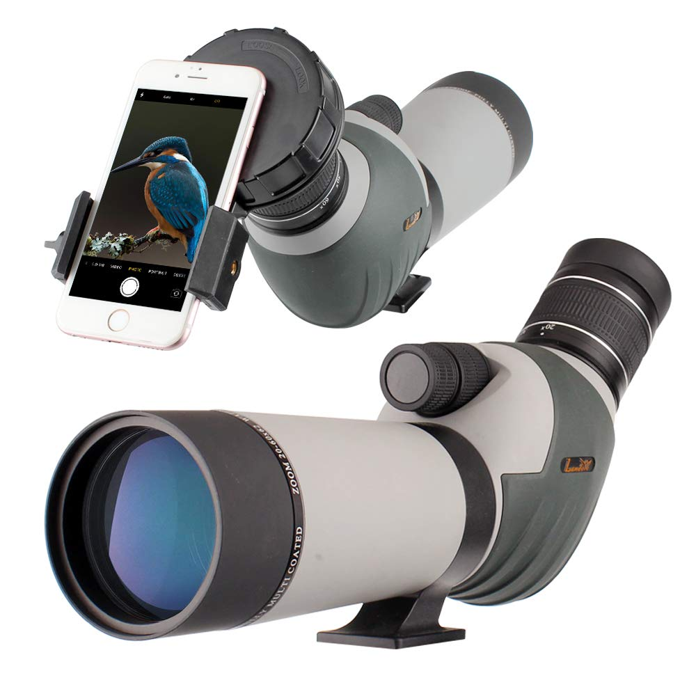 20-60x62 Zoom Waterproof Spotting Scope - HD 24mm BAK4 45-Degree Angled Big Eyepiece Dual Focus Telescope-Travel Scope with Smartphone Holder and Bag for Bird Watching Wildlife Target Shooting Hunting by LANDOVE