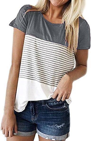 Moda para Mujer Camiseta Casual Blusa Elegante Suelto Cuello ...