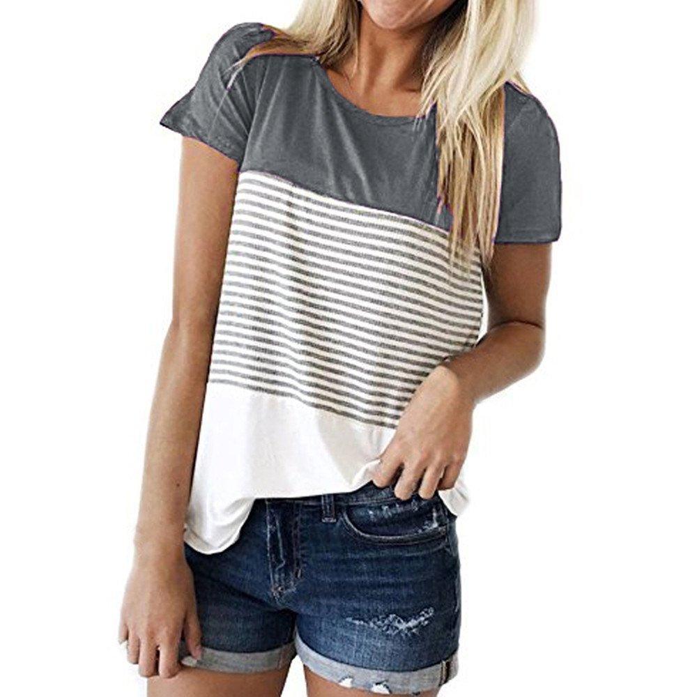 DaySeventh Summer Deals 2019 ! Women Short Sleeve Triple Color Block Stripe T-Shirt Casual Blouse GY/S Gray