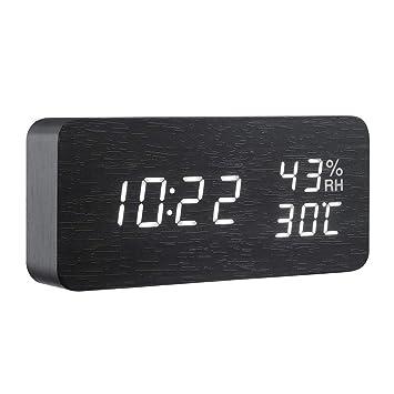 XJYA Reloj Despertador Digital, Multifuncional Reloj de Madera LED Inteligente, Tiempo de visualización,