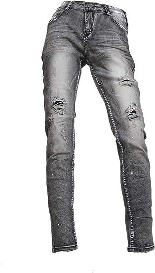 (メンズナーレ) MensNare メンズ サイド フェイクライン 切替 パンツ デニム V011031-03