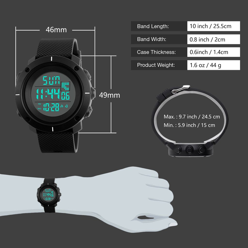 Boys Digital Watch -Kids Sports Waterproof Outdoor Watch with Alarm Stopwatch Wrist Watches for Childrens by SEEWTA (Image #4)