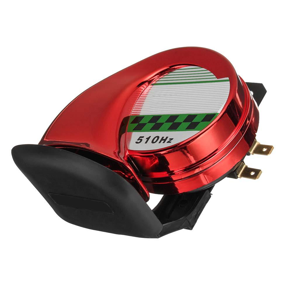 Tono Alto//bajo 12V Kit de bocina Coche Moto Moto Cami/ón Barco 130DB El/éctrico Fuerte Caracol Sirena de bocina de Aire Impermeable 12V
