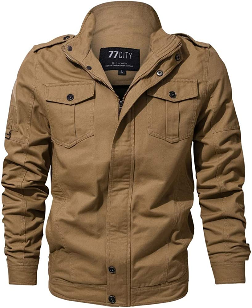 TOPUNDER Autumn Winter Casual Long Sleeve Solid Button Tooling Jacket Top Blouse Men