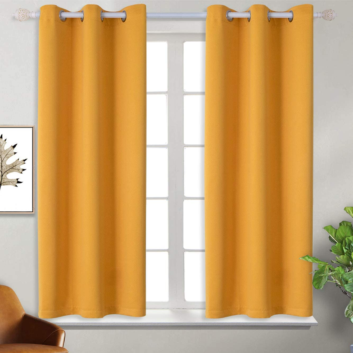 BGment Blackout Curtains for Kids Bedroom - Grommet Thermal Insulated Room Darkening Curtains for Living Room, Set of 2 Panels (38 x 54 Inch, Mustard Yellow)
