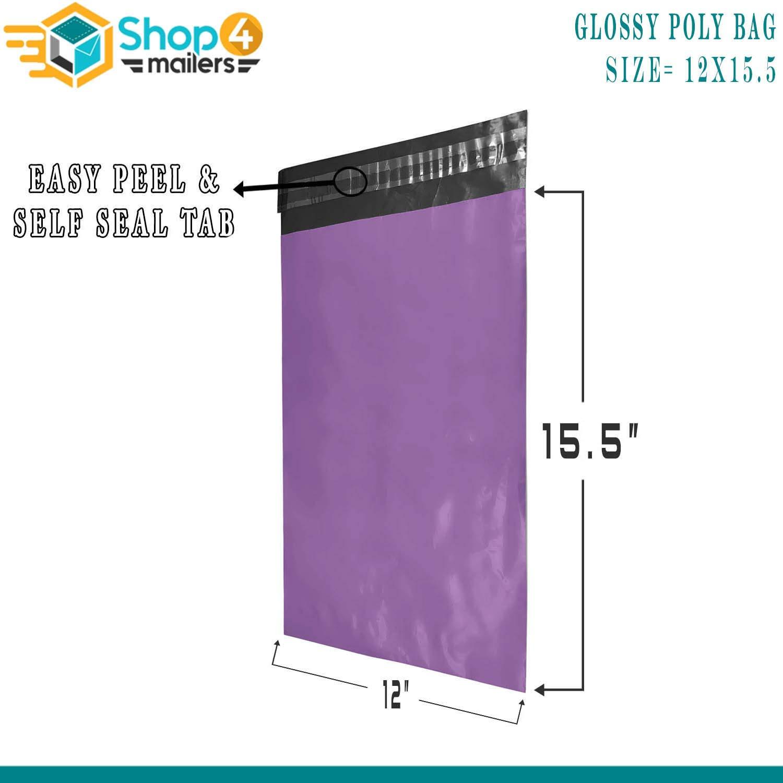 Shop4Mailers 12 x 15.5 Purple Poly Bag Mailer Envelopes 2 Mil 100 Pack