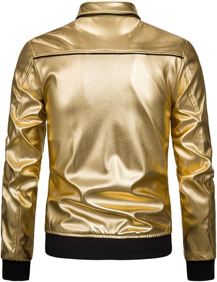 Inverlee Winter Coat Mens Nightclub Style Bright Solid Color Stitching Lapels Coat Black