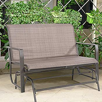 34778be232f Cloud Mountain Patio Glider Bench Outdoor 2 Person Swing Loveseat Rocking  Seating Patio Swing Rocker Lounge Glider Chair