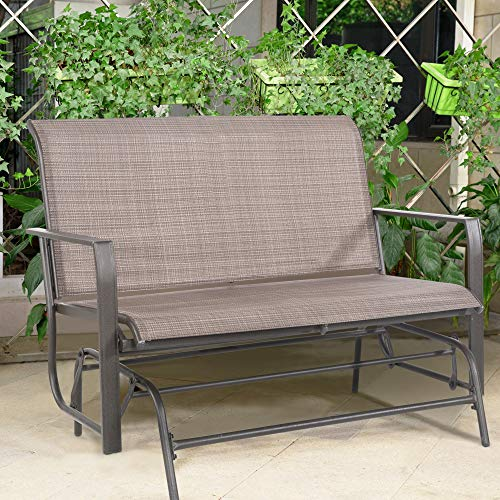 Cloud Mountain Patio Glider Bench Outdoor 2 Person Swing Loveseat Rocking Seating Patio Swing Rocker Lounge Glider Chair, ()
