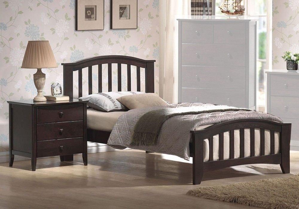 1PerfectChoice San Marino Twin Kids Youth Bed Matching Night Stand Drawers Dark Walnut