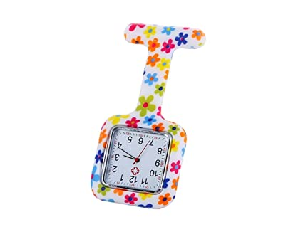 ADream Enfermeras de Colores Cuadrados Reloj Floral de Silicona Reloj de Goma Relojes de Silicona Enfermeras