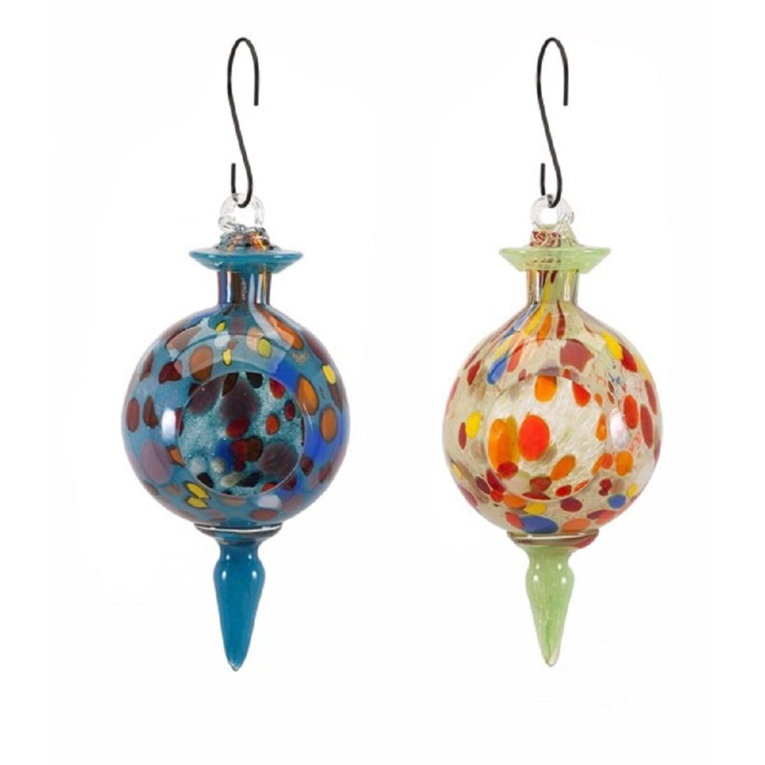 CC Home Furnishings Set of 2 Multi-color Handcrafted Artisan Glass Hanging Bird Feeders