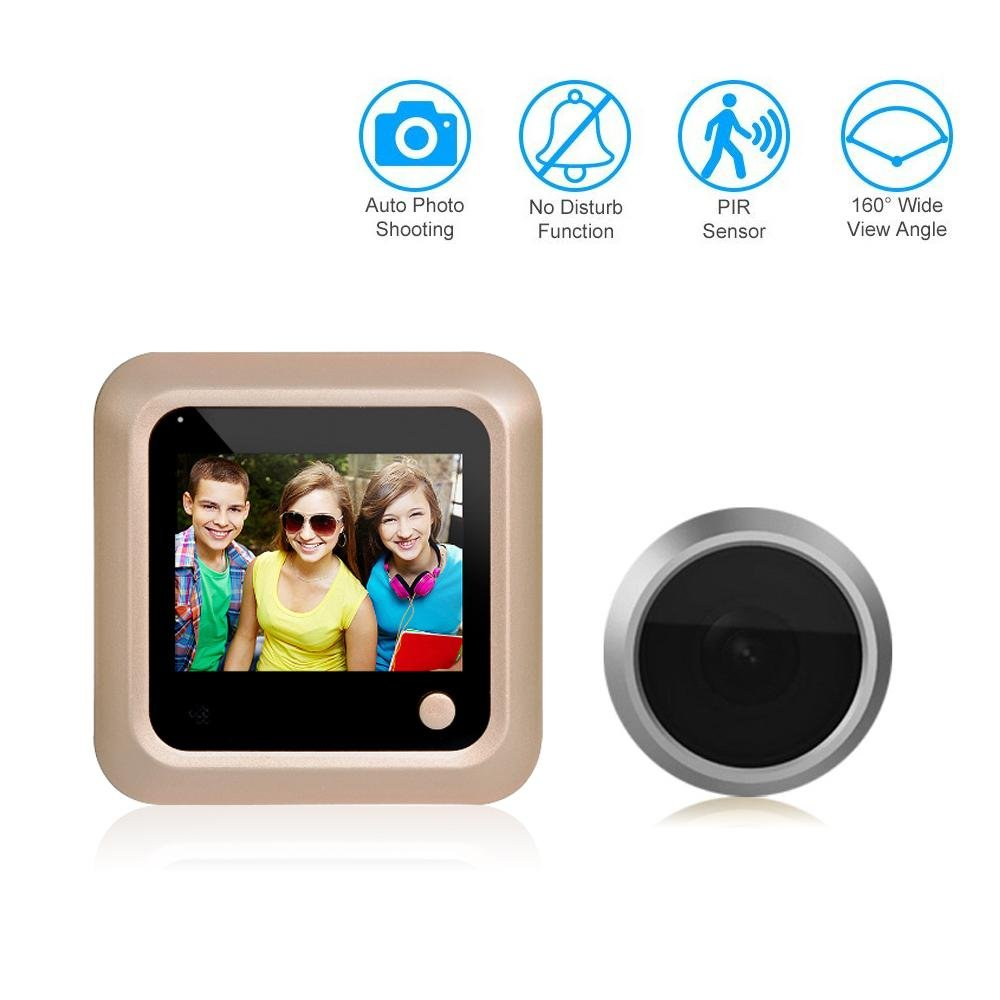 Umiwe Digital Peephole Viewer, 2.4'' Digital Peephole Visual Electronic Cat's Eye Doorbell Camera with 160 Degree for Home Door Security Video Camera Monitor