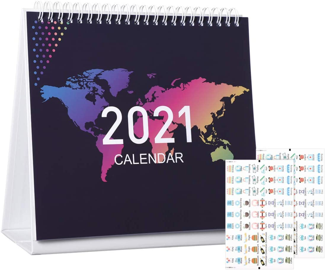 STOBOK Desk Calendar Stand 2021 | Monthly Standing Flip Calendar Runs from January to December Includes to do List with Planner Stickers for Home,Office Plan & Schedule 7.8 inch x 7 inch