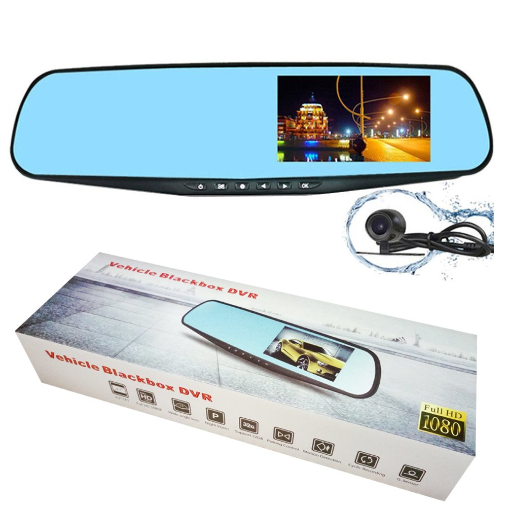 special auto accessories 4.3inch dual lens rear view mirror Car DVR Full HD 1080P wide-angle lens car DVR driving video recorder with front and back two cameras-PZ916