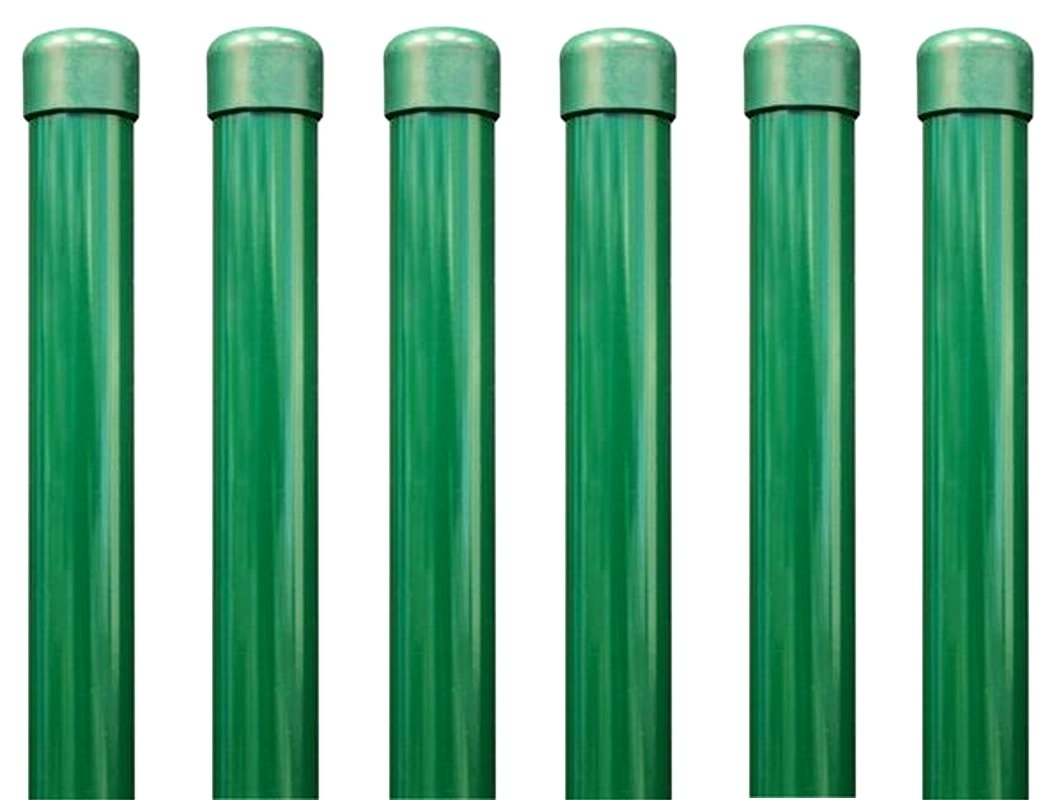 6 Stück BawiTec Zaunpfosten 34mm 200cm grün zum Einbetonieren