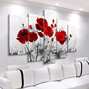 5 Pieces Combined Flowers Posters Abstract Red Poppy Canvas Paintings Cheap Modern Paintings Wall Pictures for Living Room Interior Decoration Bedroom