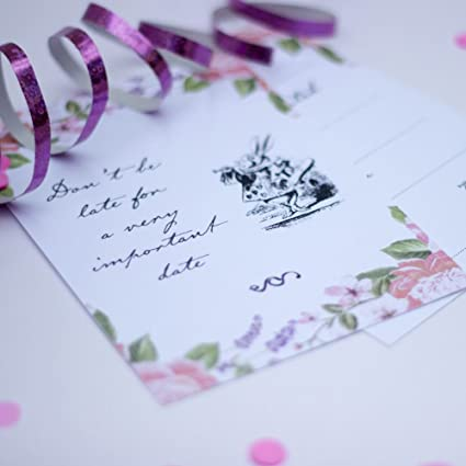 Amazon Com Alice In Wonderland Party Invites Floral With Envelopes