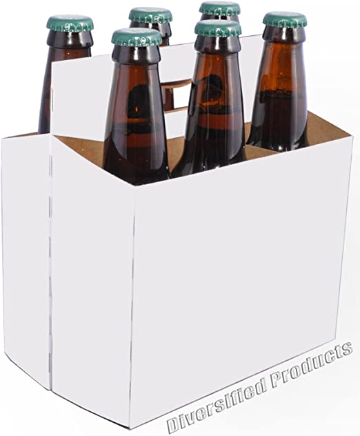 Amazon Com White Six Pack Beer Boxes Case Of 160 Kitchen Dining
